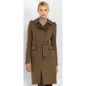 BCBGMAXAZRIA Olive Wool Military Trench Coat Sz M